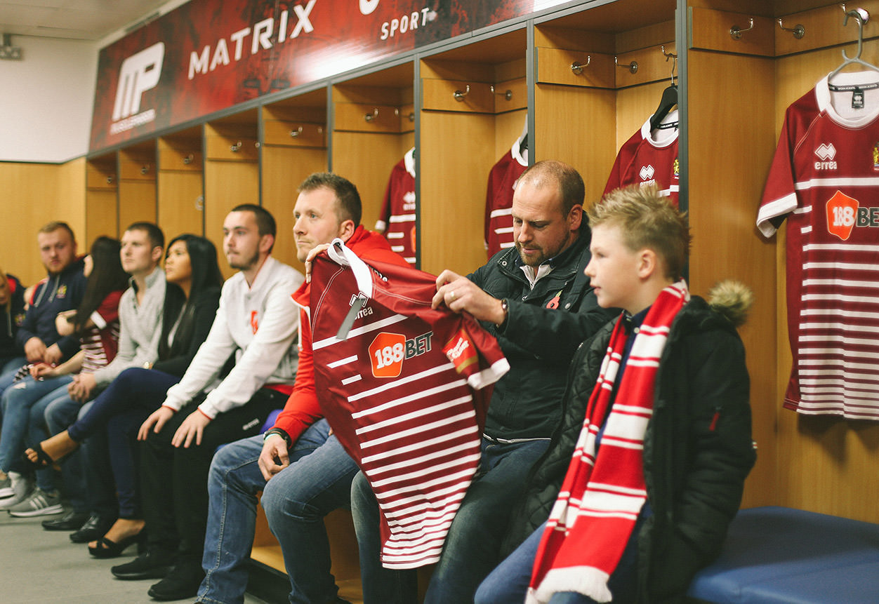 fans check out the new Wigan Warrior kit in the dressing room