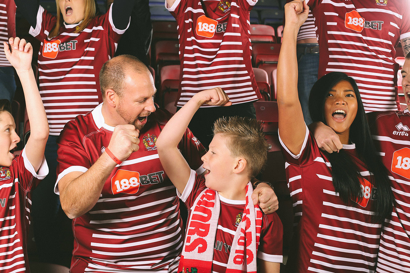 Cheering Wigan Warrior fans for the new rugby kit launch