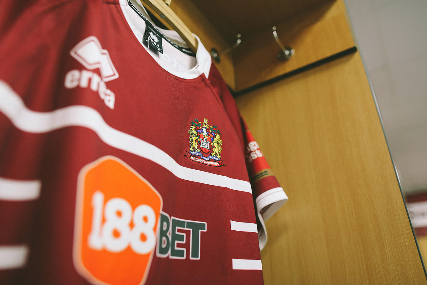 Wigan Warriors badge on the new shirt in the dressing room