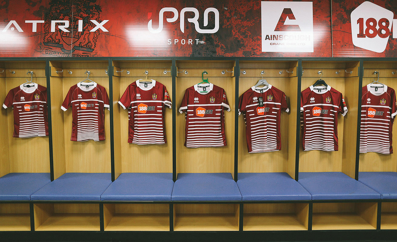Wigan Warriors dressing room for the new rugby kit launch