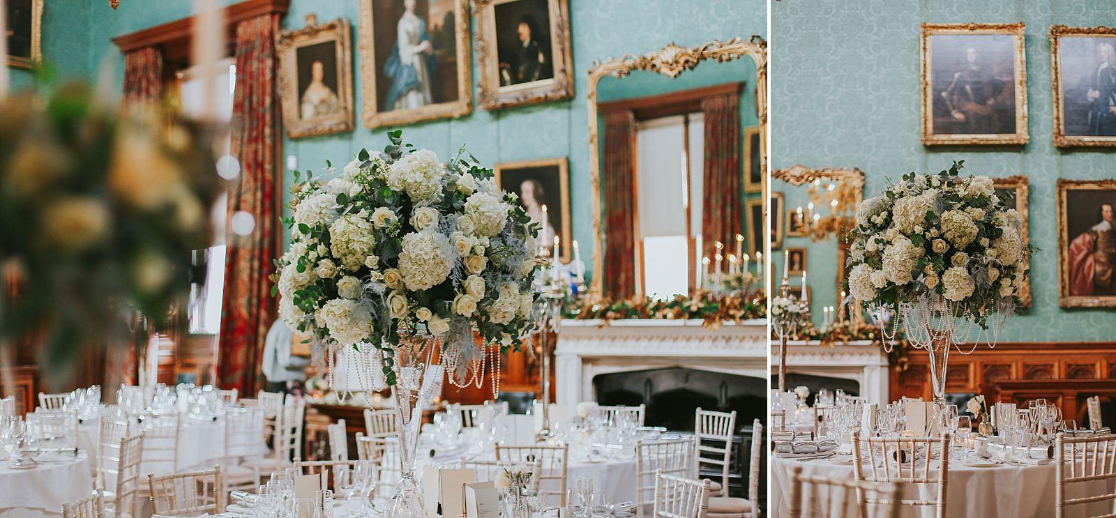 Hydrangea & White Rose flower centre piece for a wedding