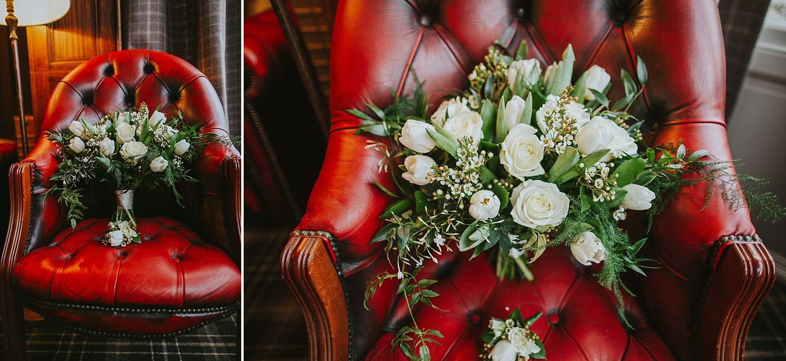Brides bouqet on a red leather chair at ashfield house