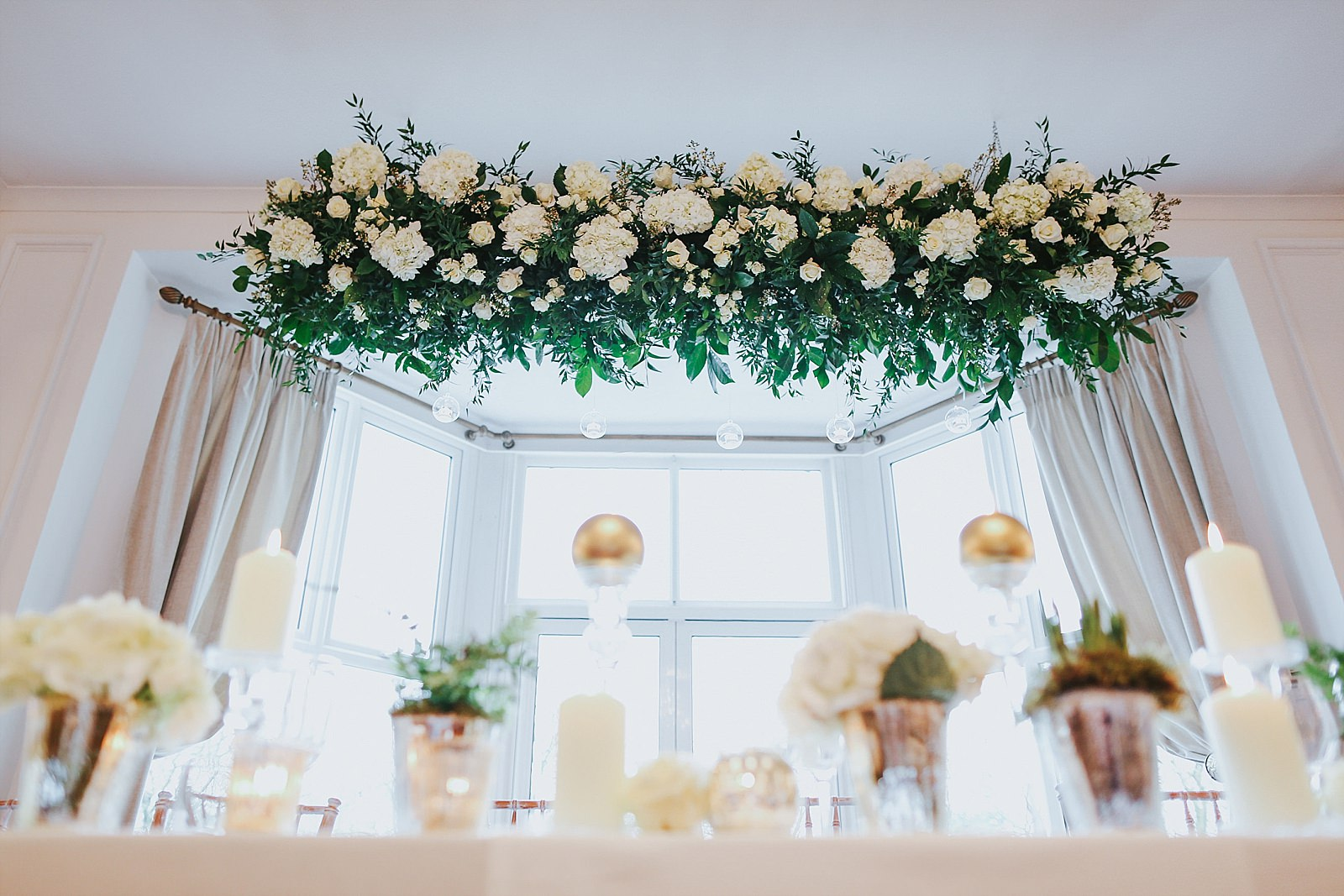 hanging ceiling suspended with white flowers
