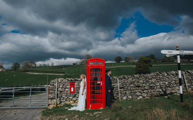 knipe hall wedding photographer with iconic red phone box