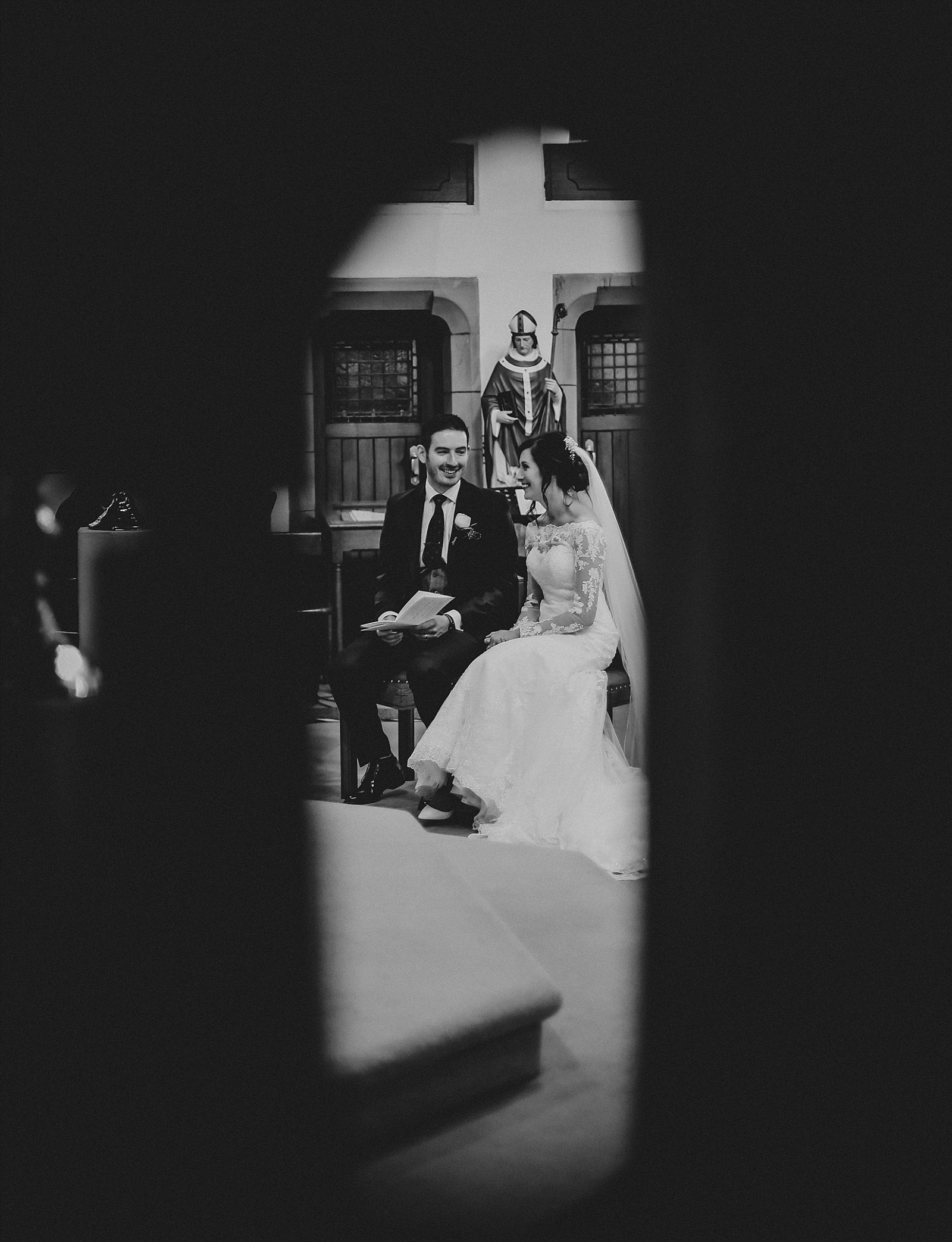 eaves hall wedding photographer captures happy bride and groom