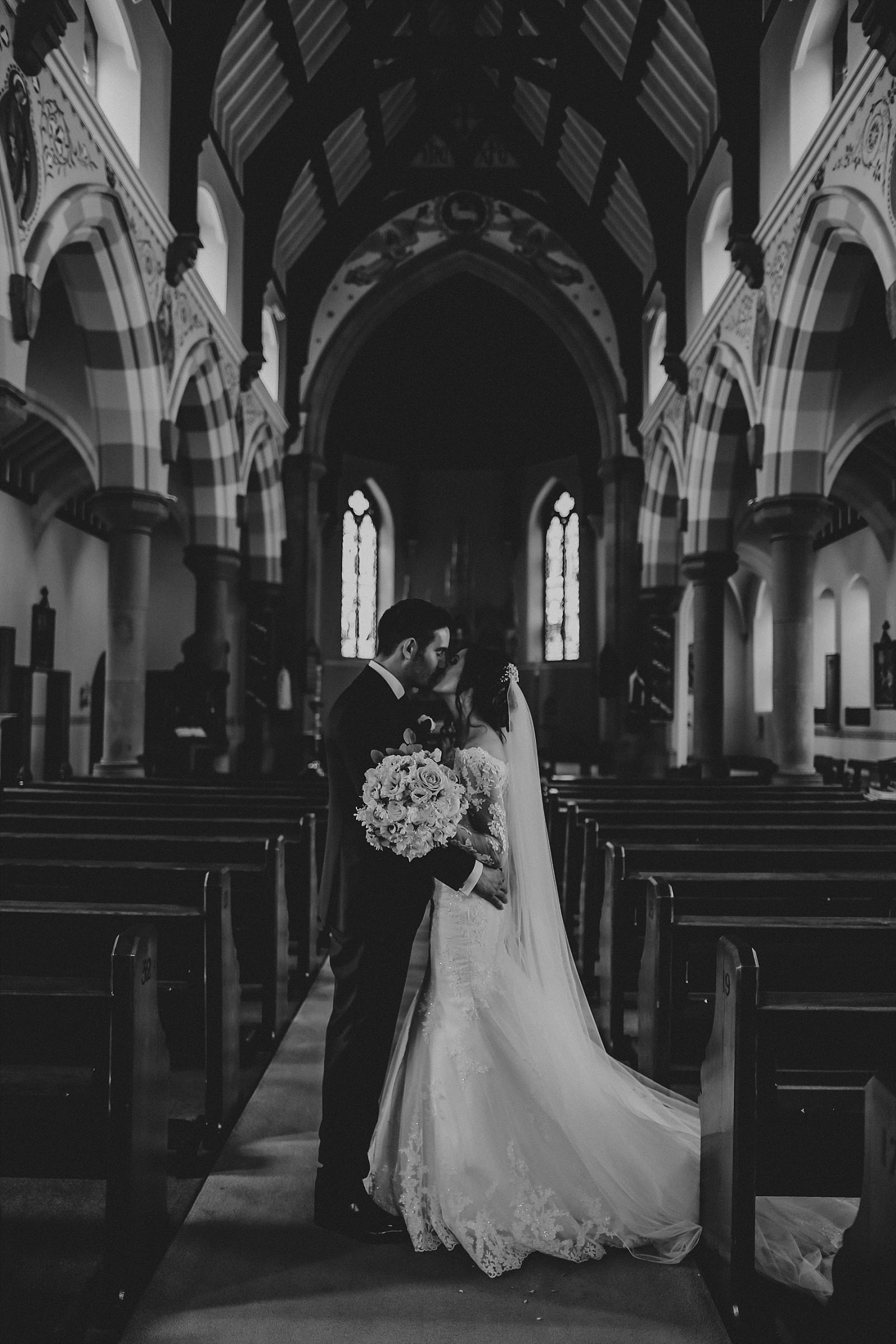 black and white shot inside st wilfrids church clitheroe