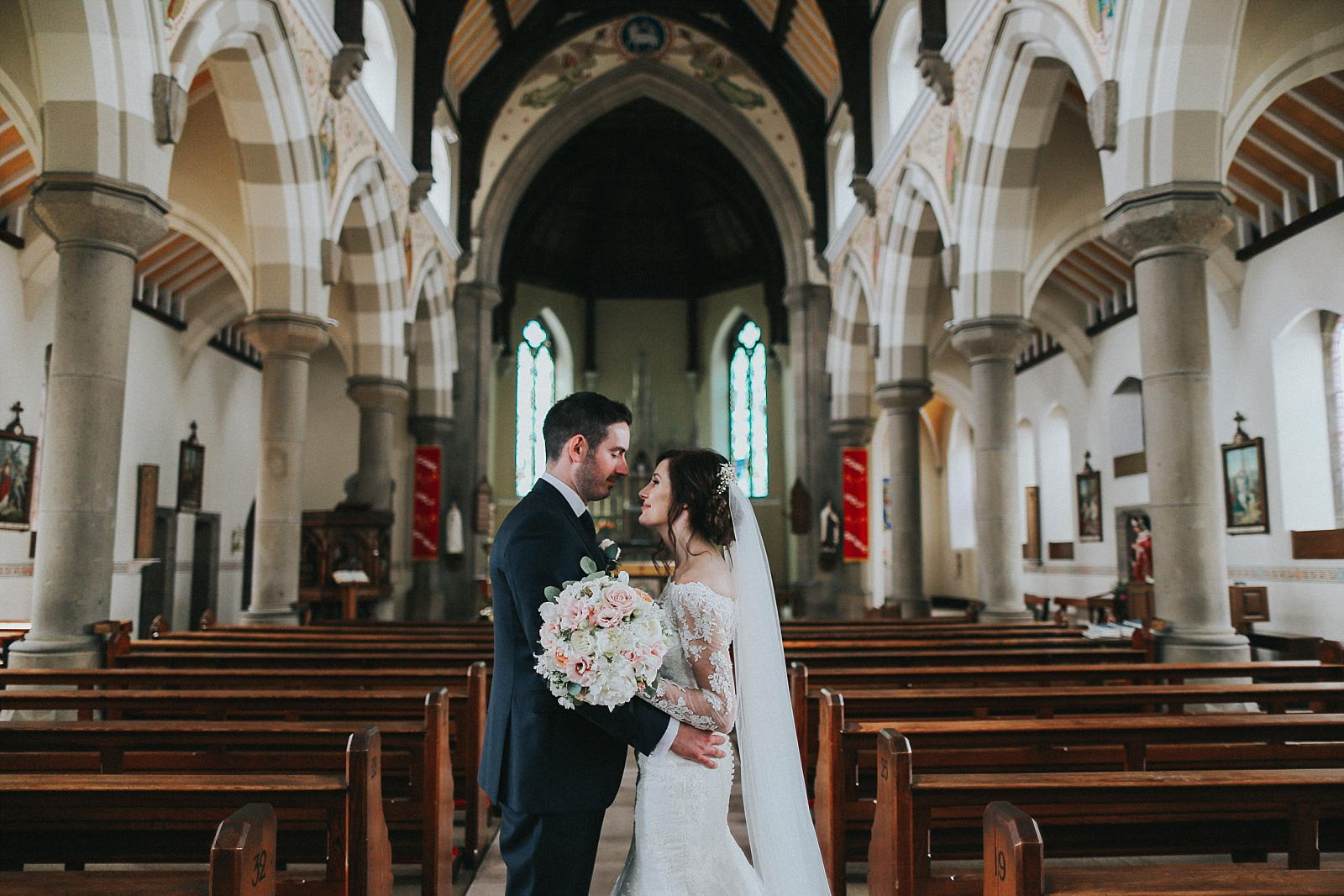bride and groom inside st wilfrids church clitheroe