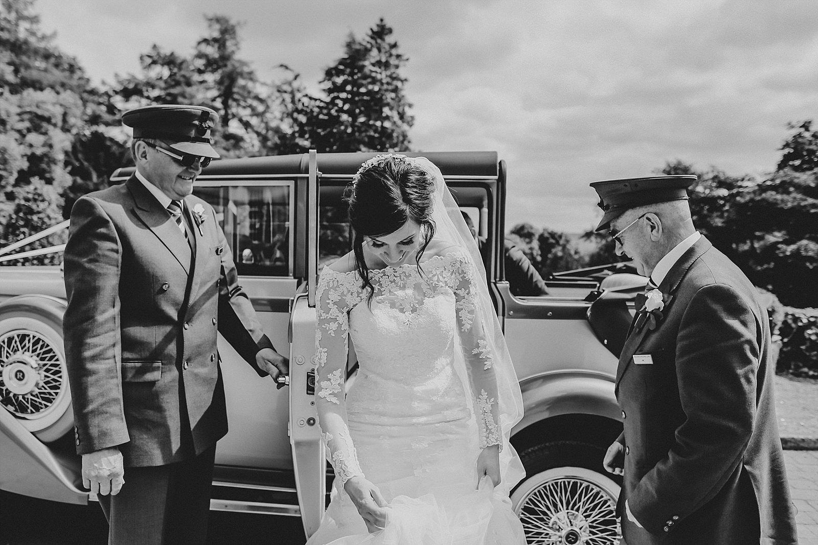 bride leaves her malvern wedding car