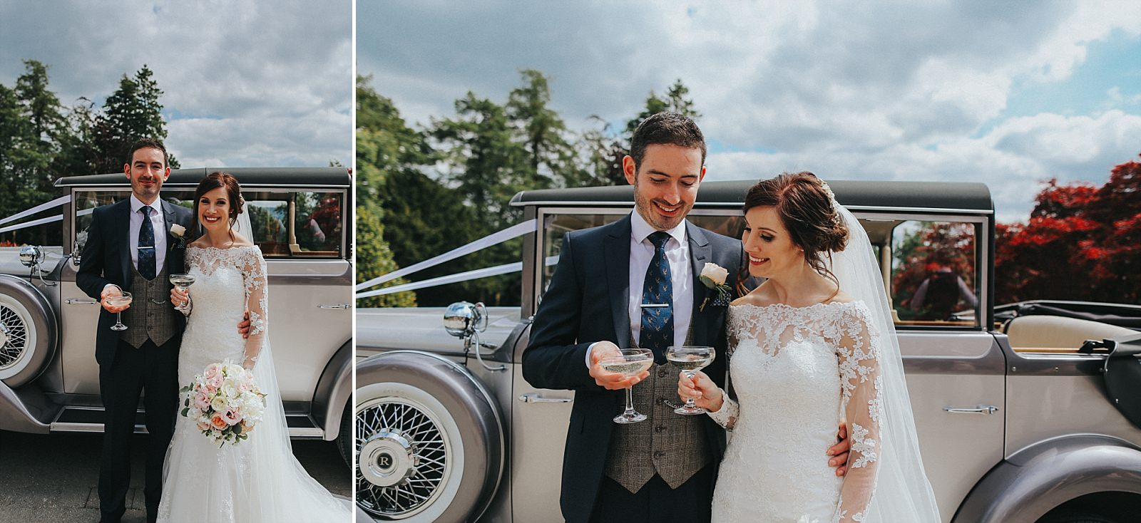bride and groom toast next to their malvern wedding car