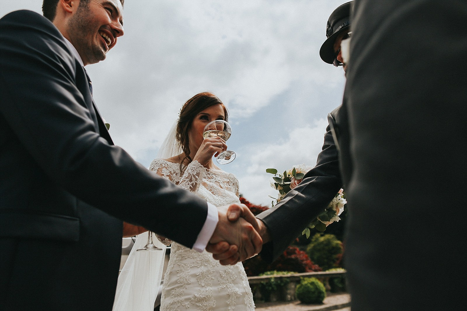 bride enjoys a tipple