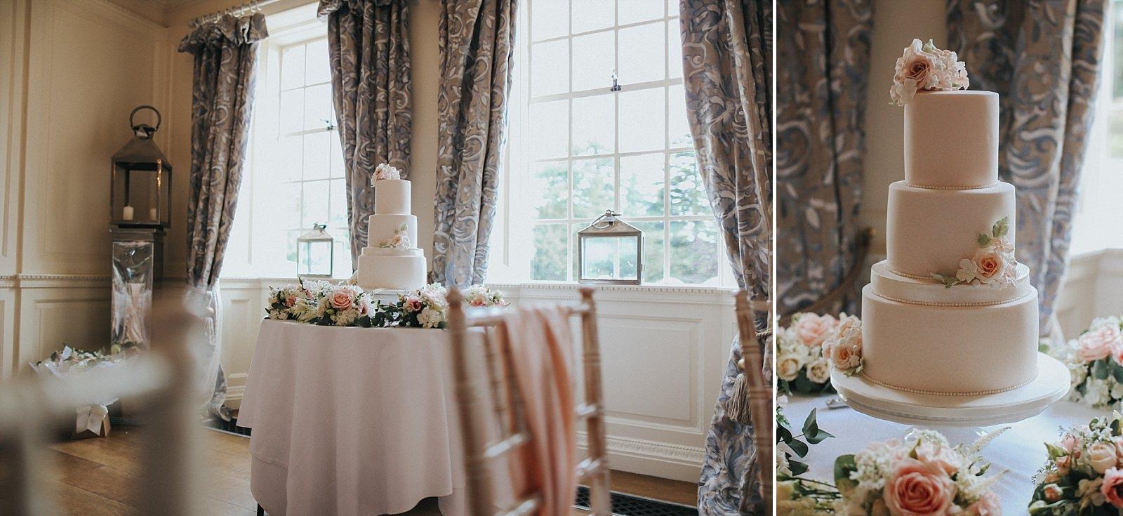 amazing pink frosting wedding cake