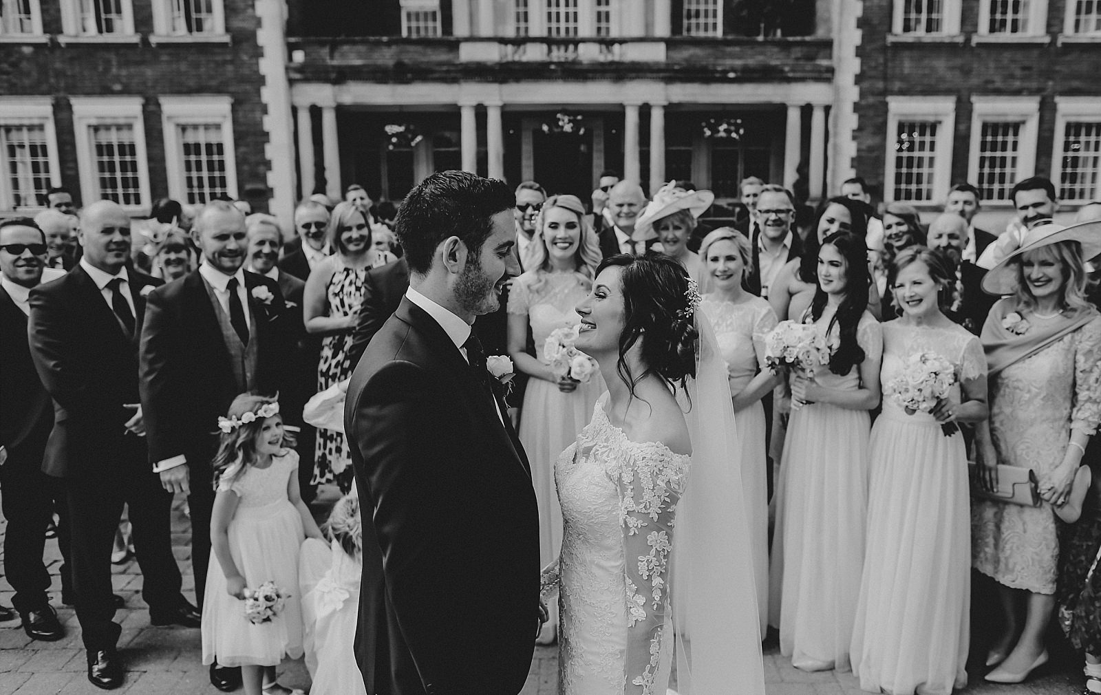 eaves hall wedding photographer captures group shot