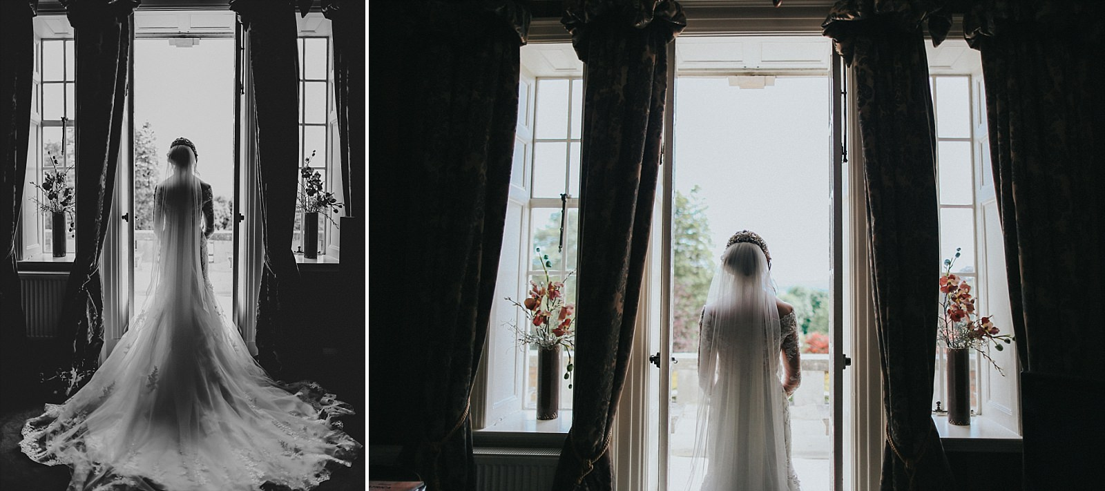 bride takes a moment in the bridal suite at eaves hall