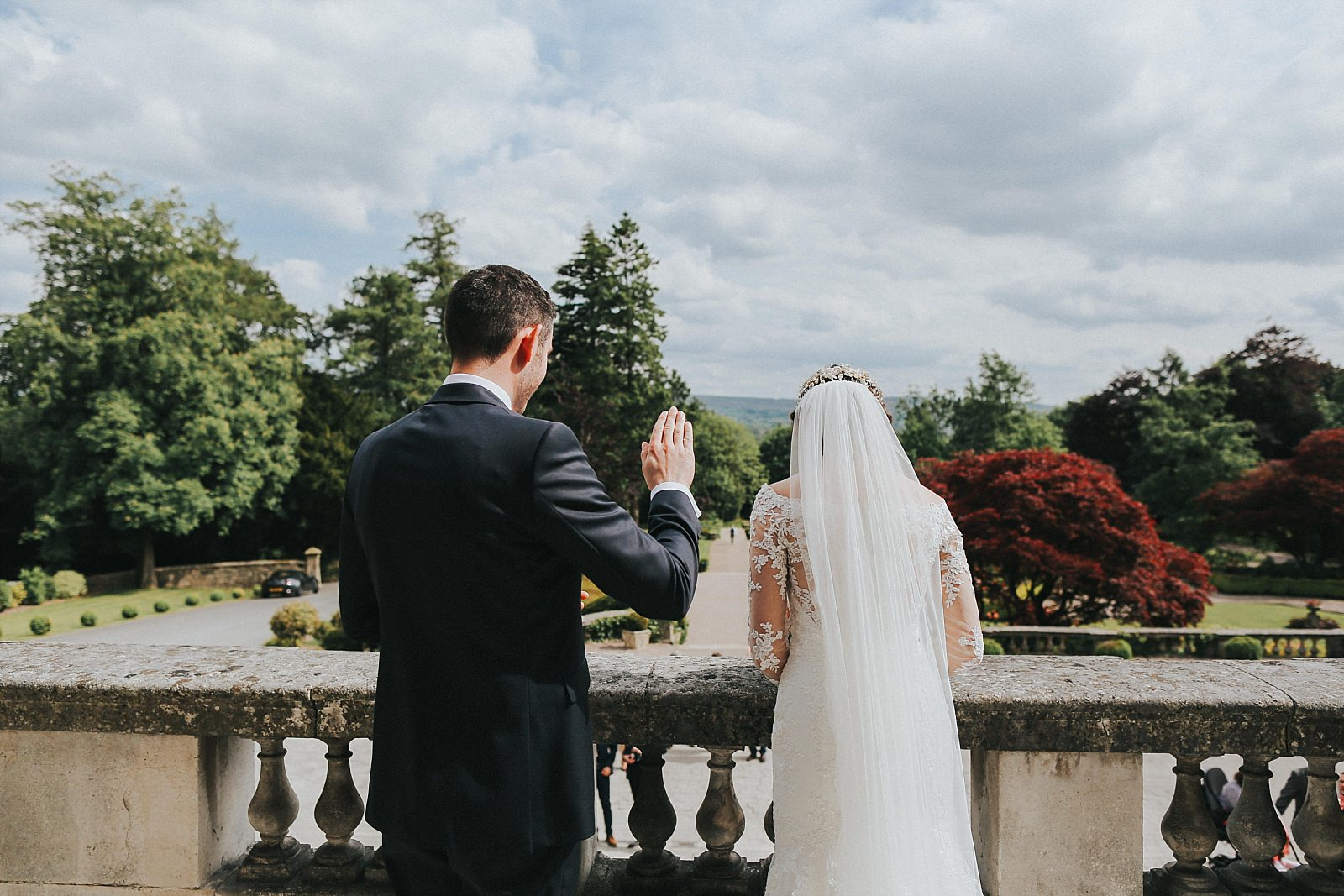 bride and groom greet their guests