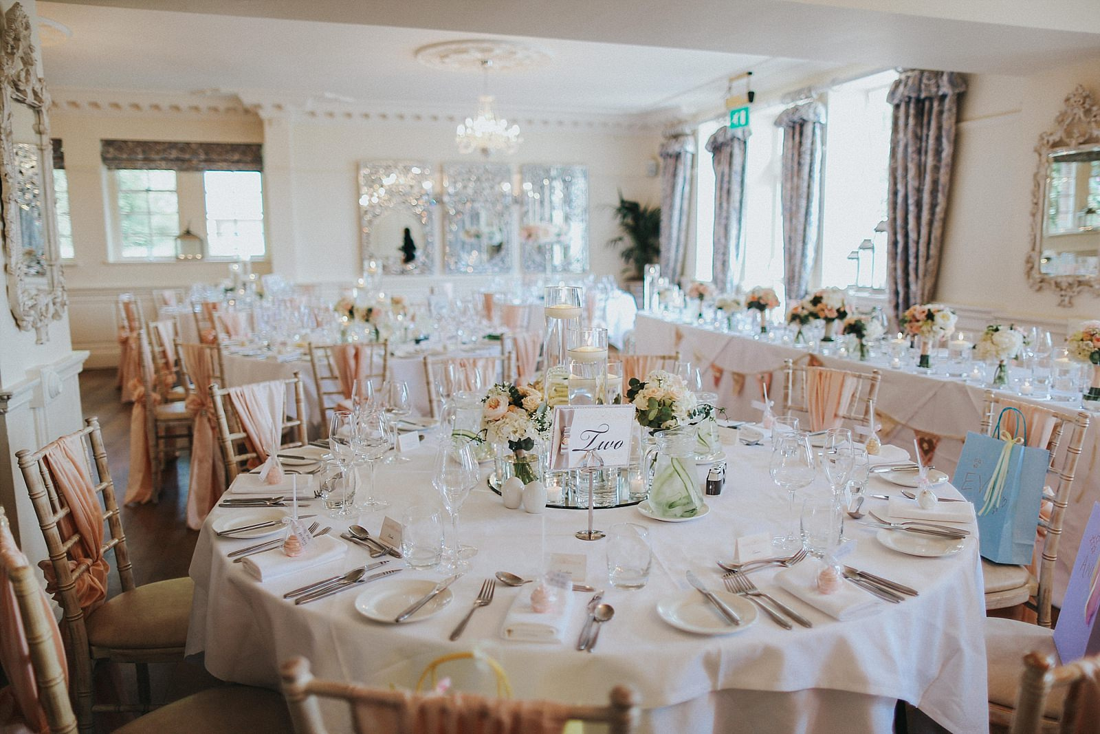 wedding breakfast set up and shot by eaves hall wedding photographer