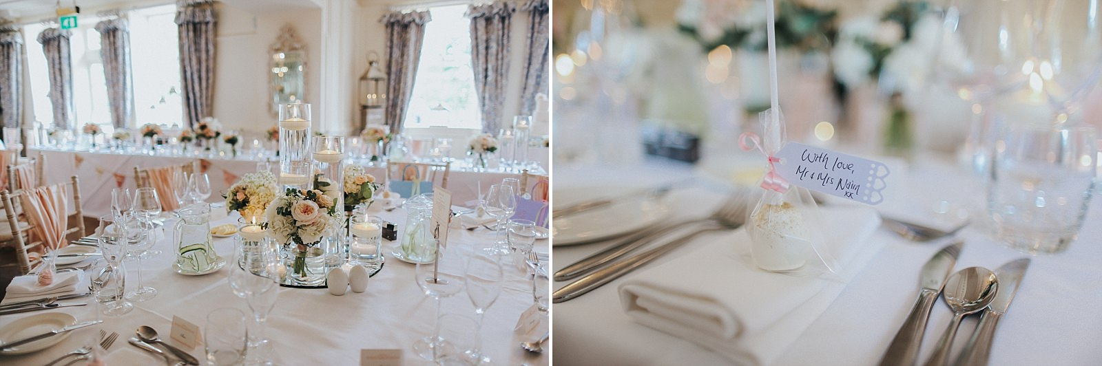 table centrepieces at eaves hall clitheroe