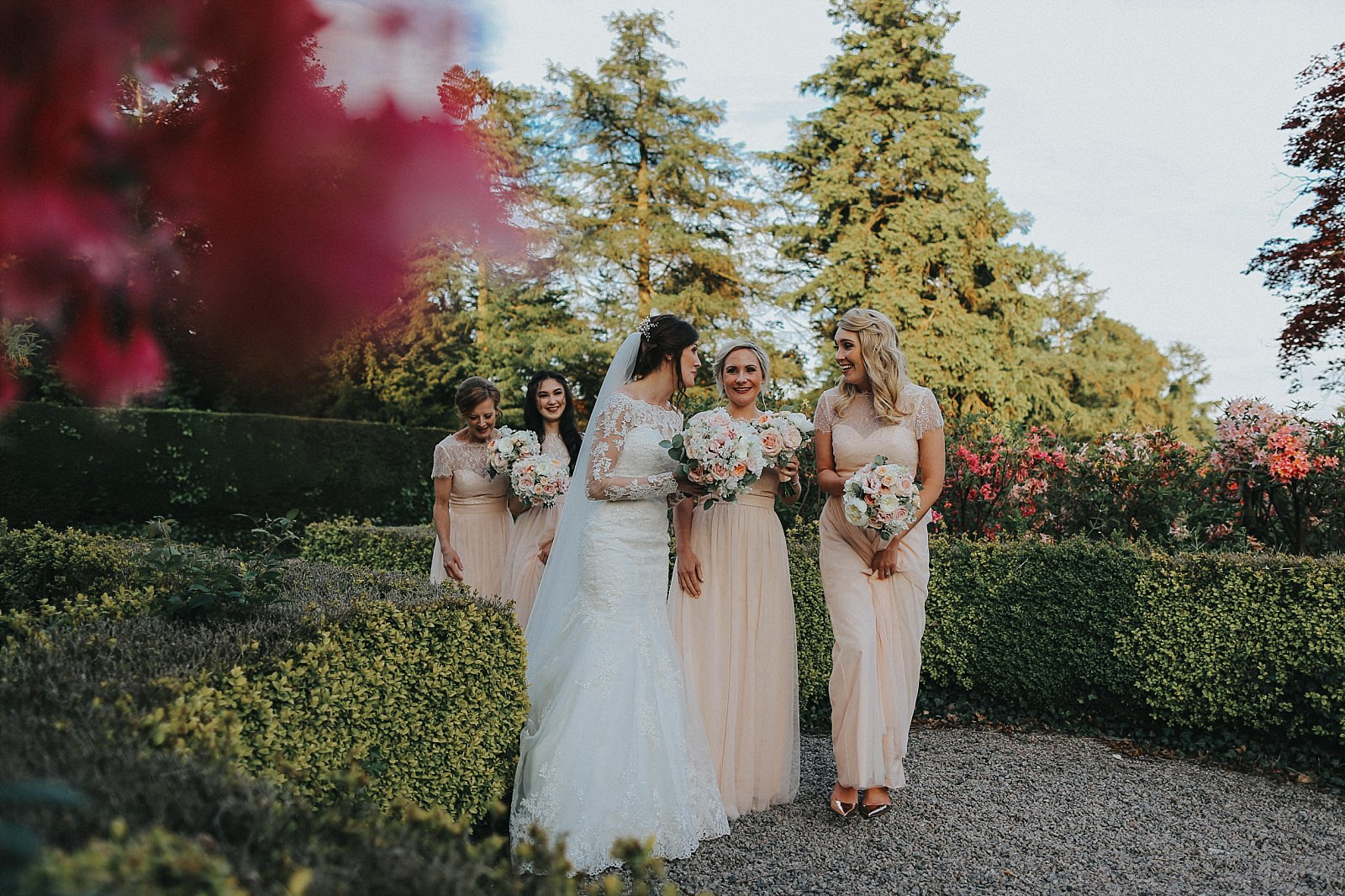 bride chatting to her bridesmaids