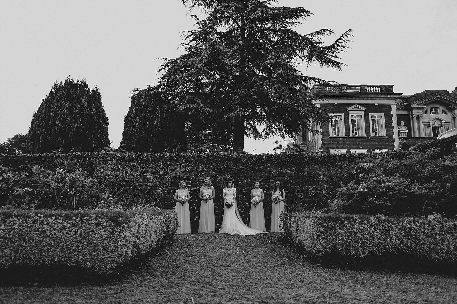 bride and her maids in the grounds of eaves hall clitheroe