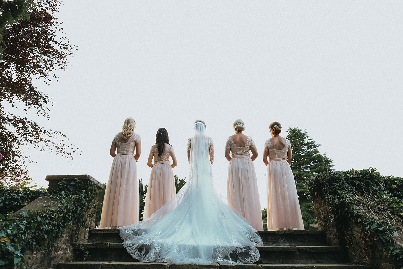 capturing the back of the bridesmaids