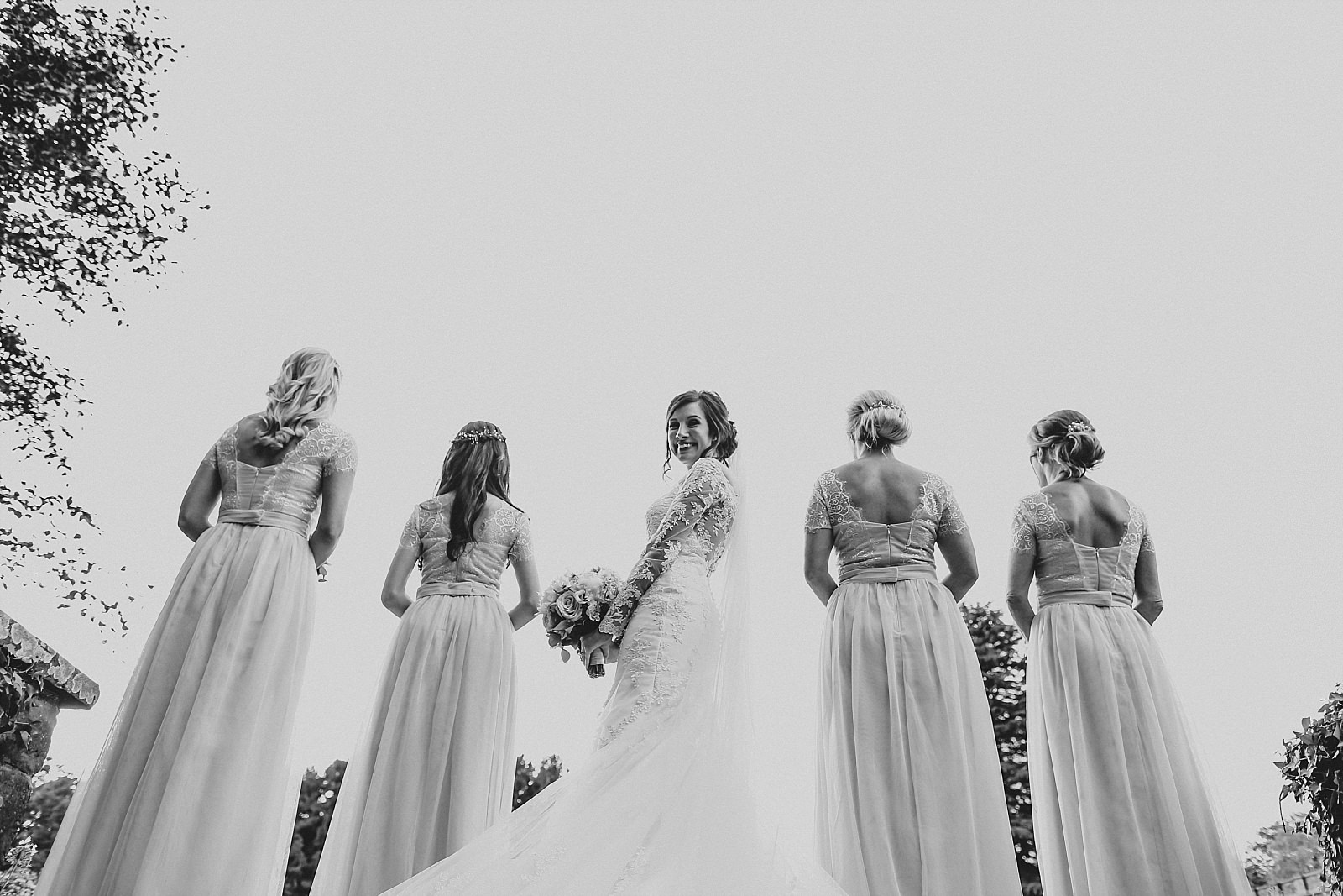 eaves hall wedding photographer shoots the bride and bridesmaids