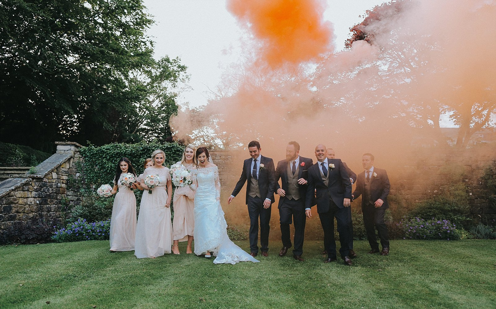 eaves hall wedding photographer uses smoke bombs