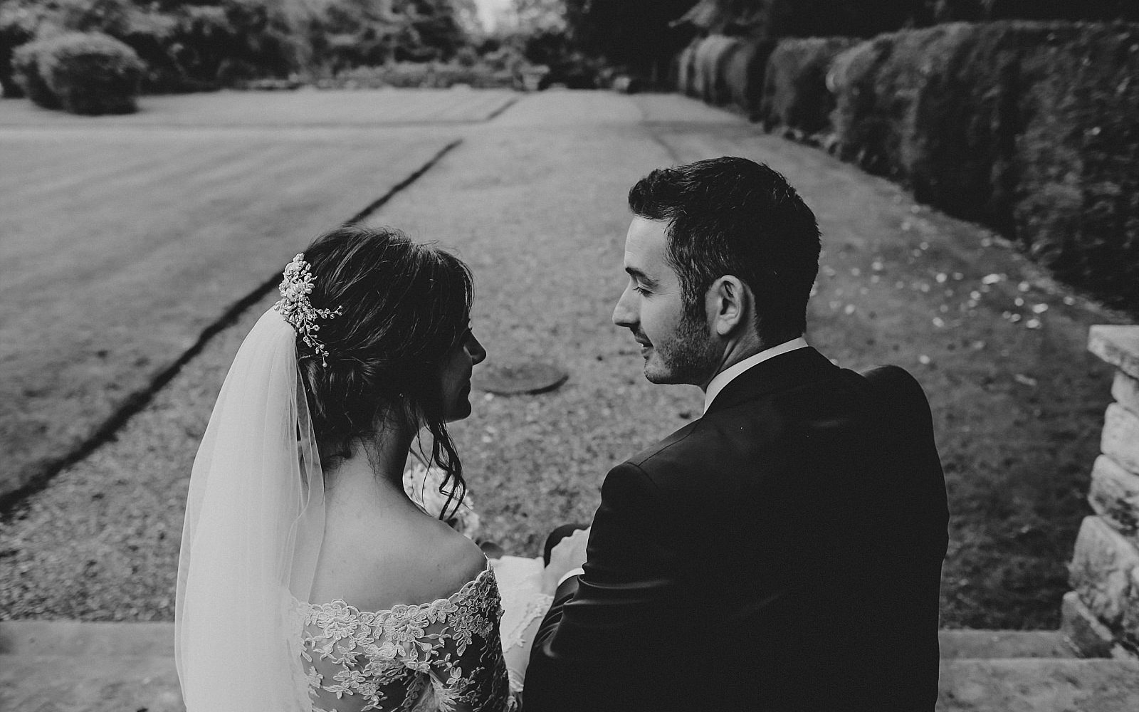 eaves hall wedding photographer captures couple taking the time to reflect