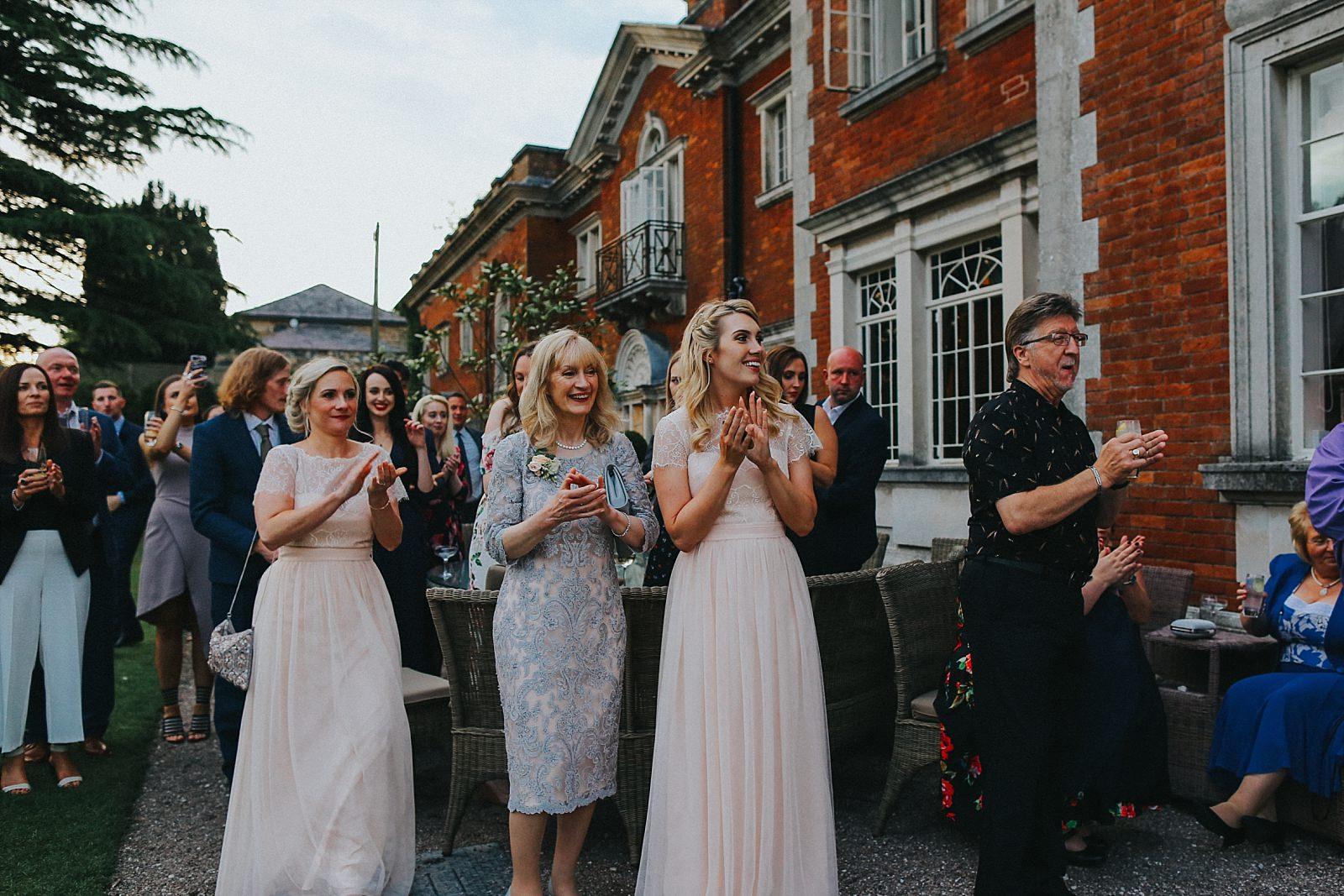 guests congratulate the happy couple