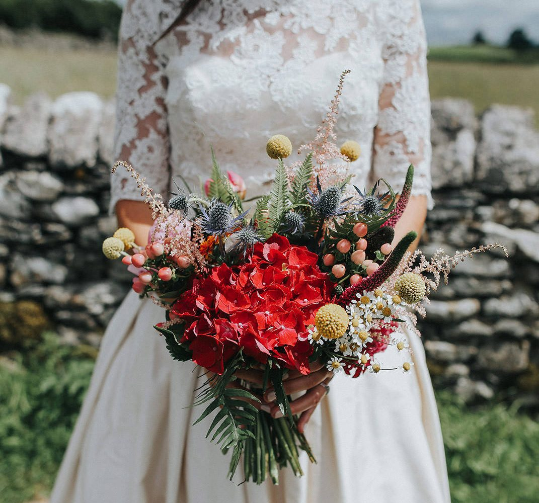 boho style messy flowers imagesfor lake district wedding photography