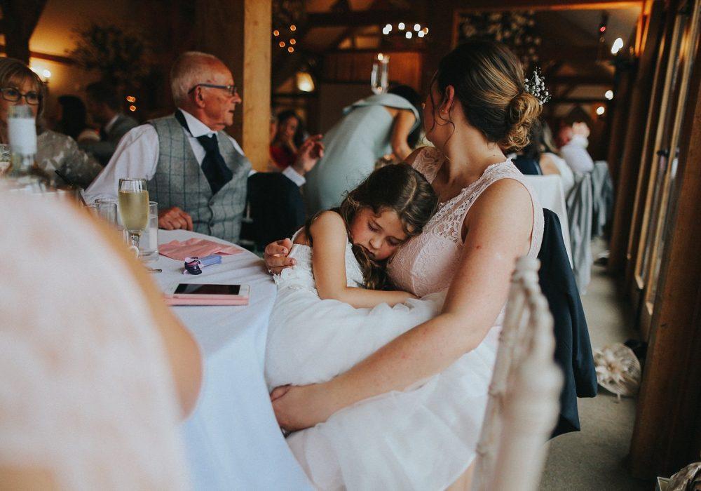 sleeping at wedding breakfast