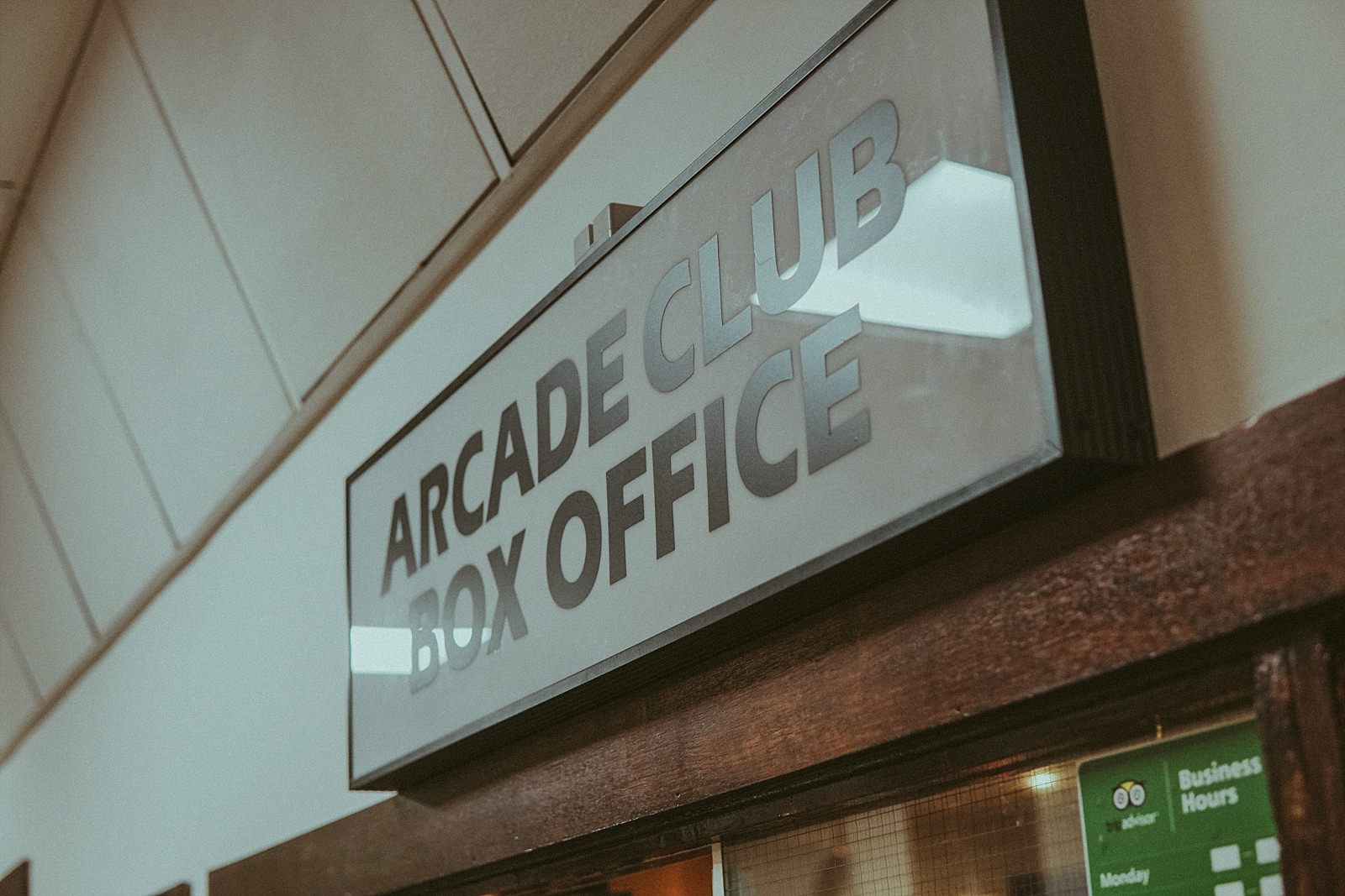arcade box office sign