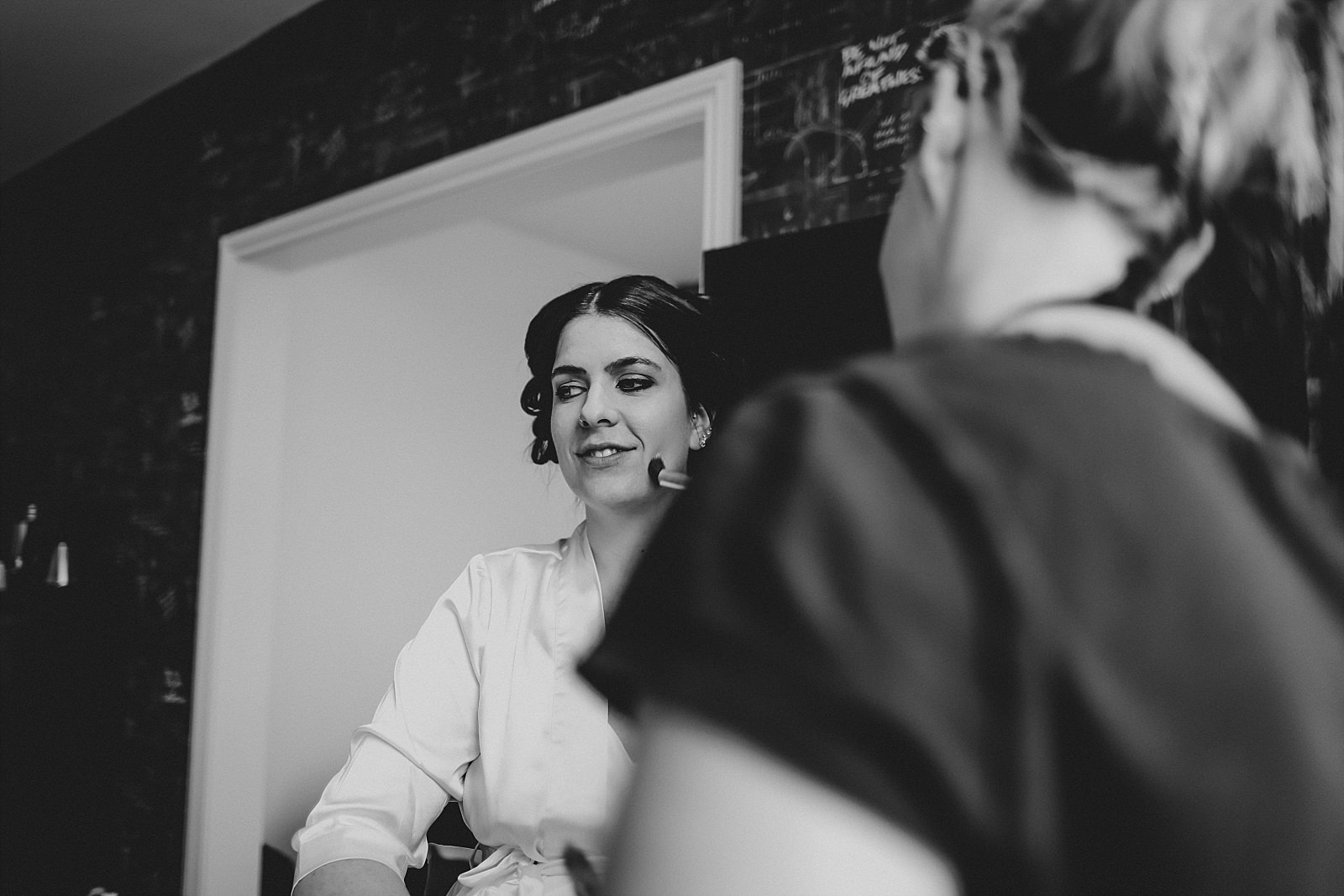 bride make up in black and white