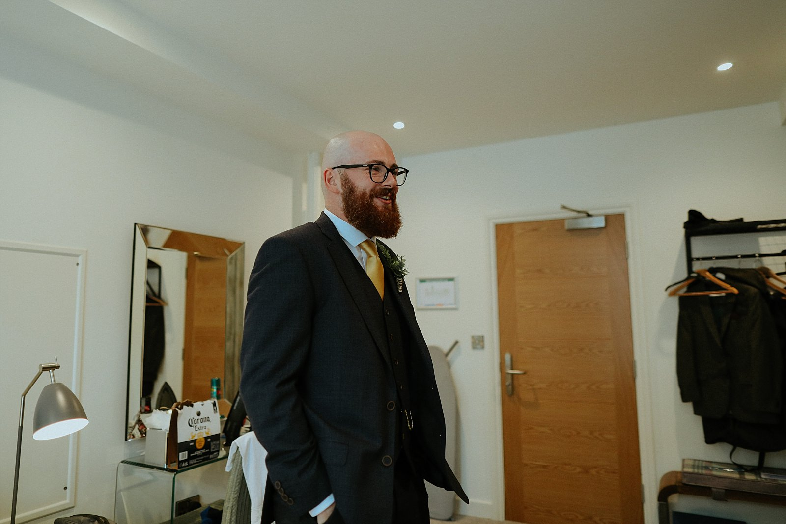 hipster groom with beard and glasses