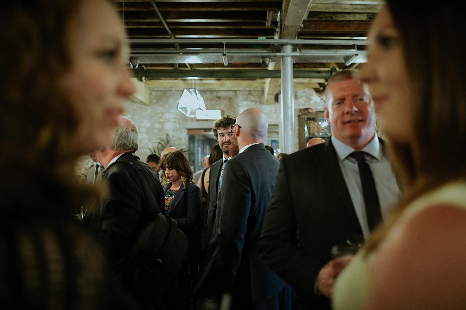 gathering guests at a wedding