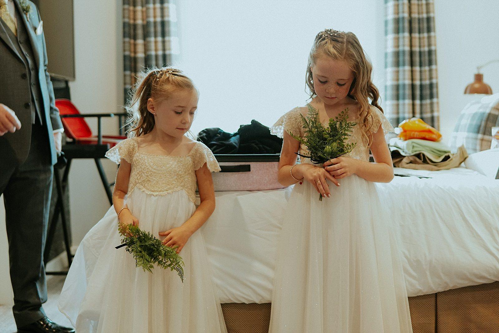 cute bridesmaid in white dresses