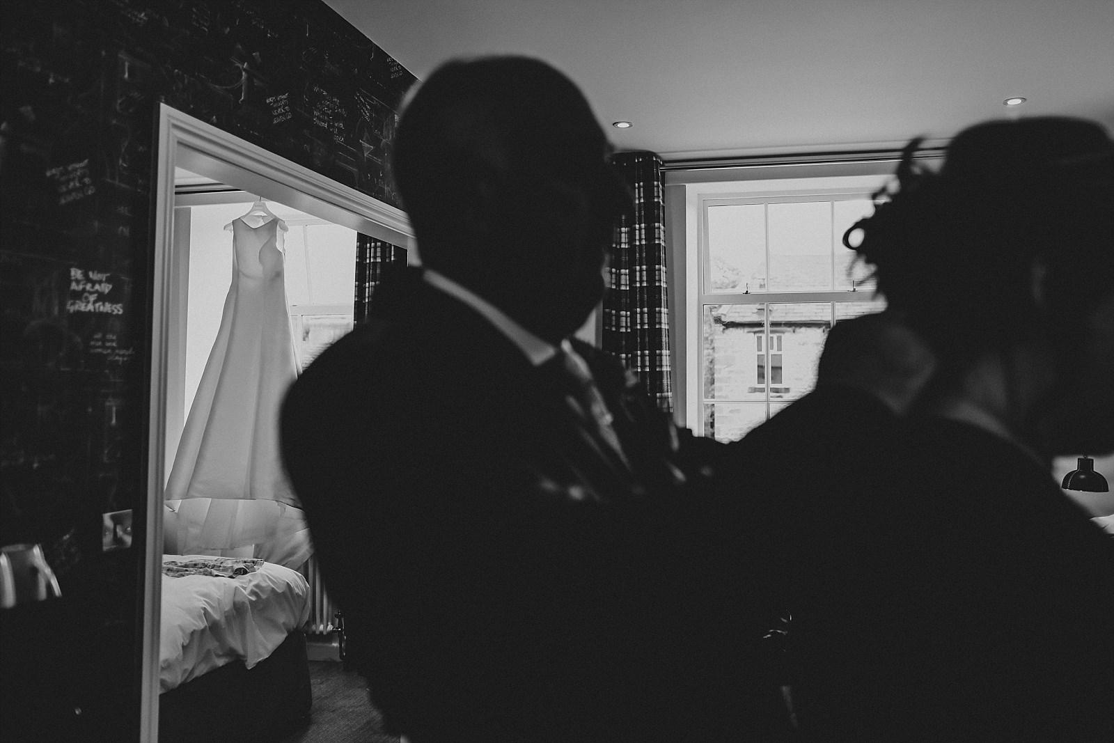 white pronovias dress at bridal preparations