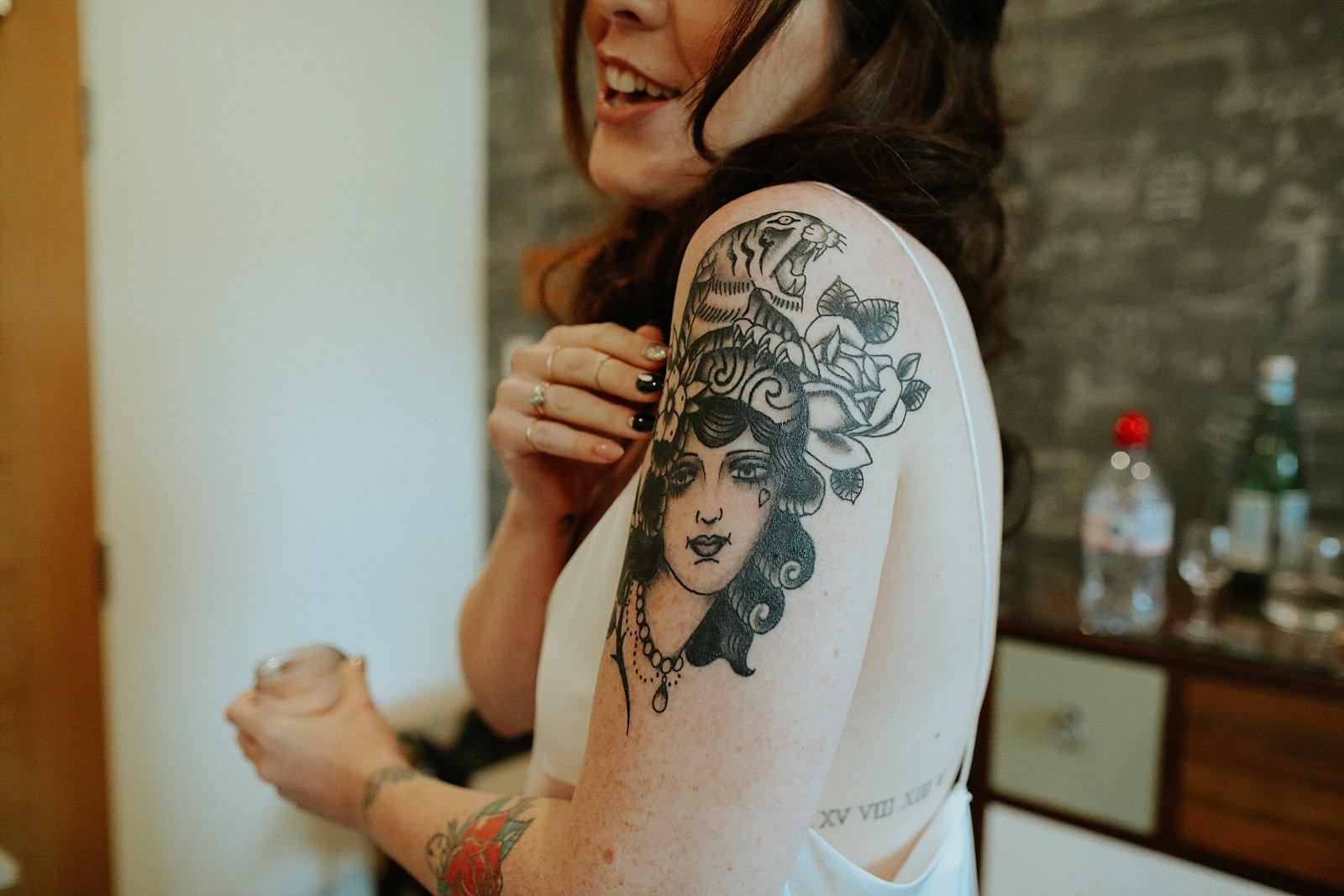 woman tattoo on bride