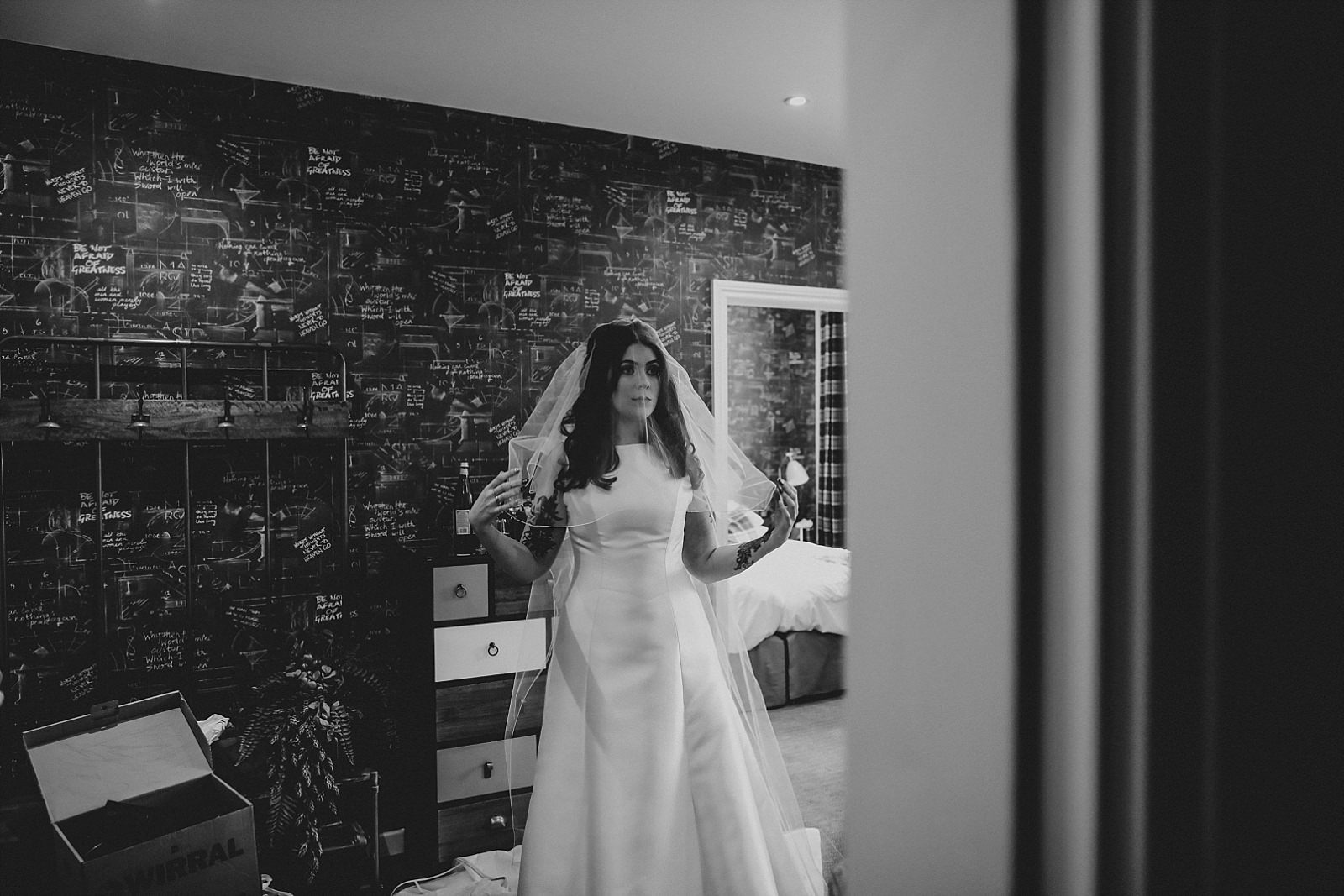 bride flicking out her white veil