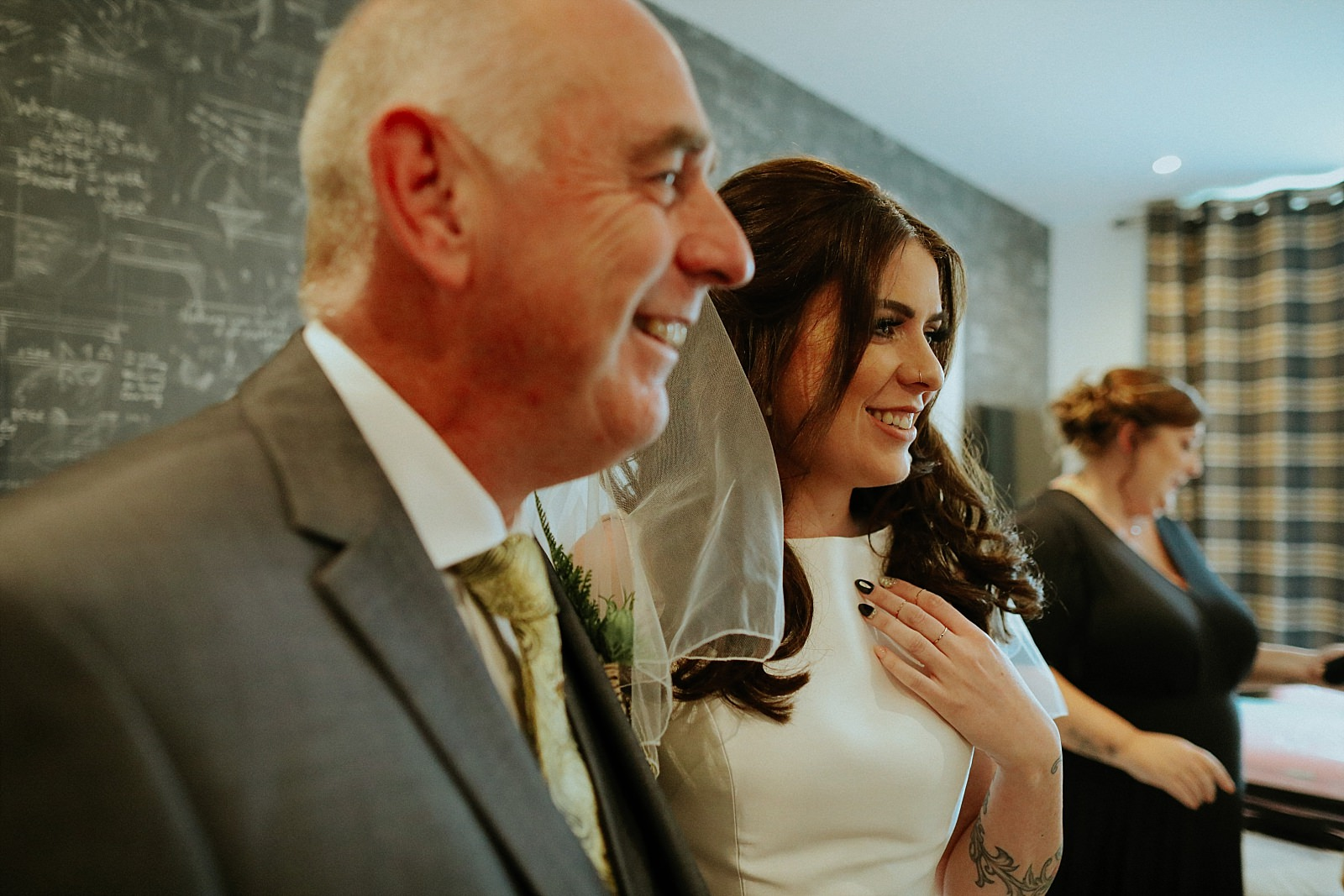 smiling bride with her dad