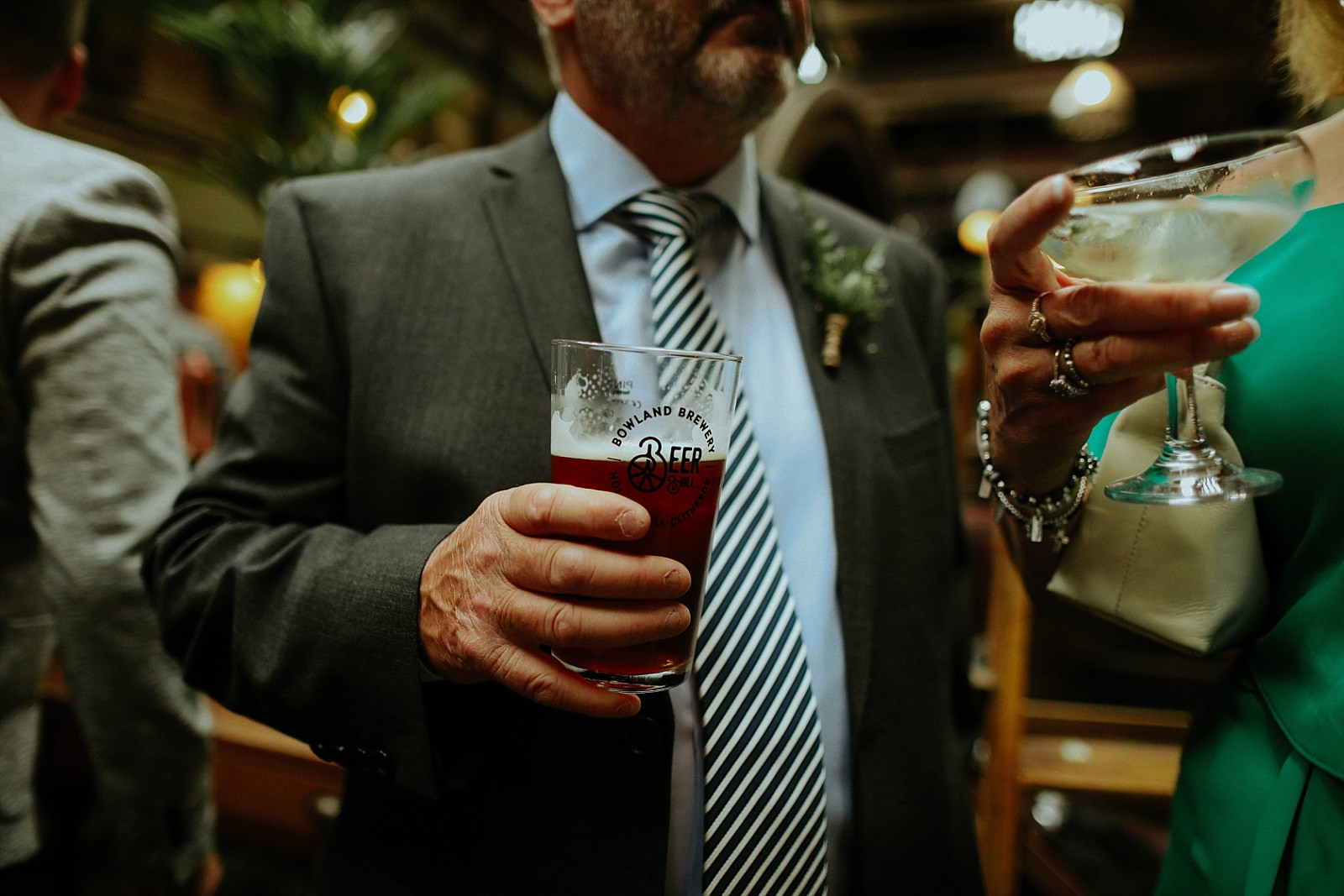 Man holding a bowland beer pint glass