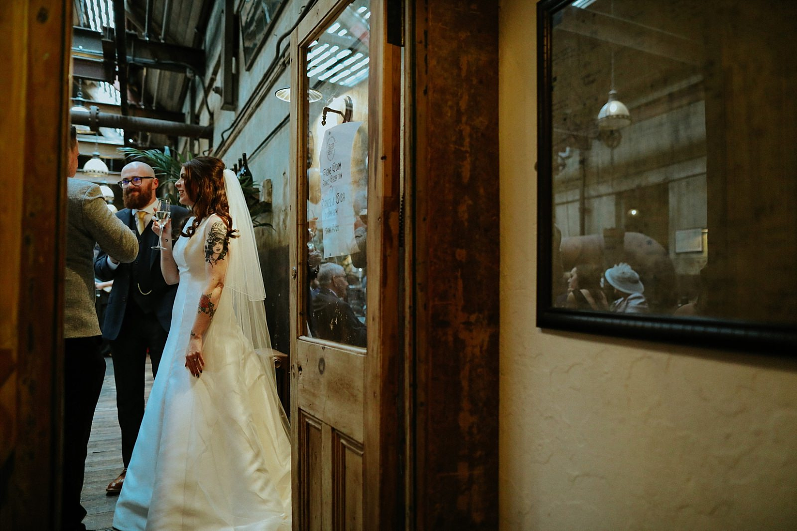 bride in the engine room at bowling brewery