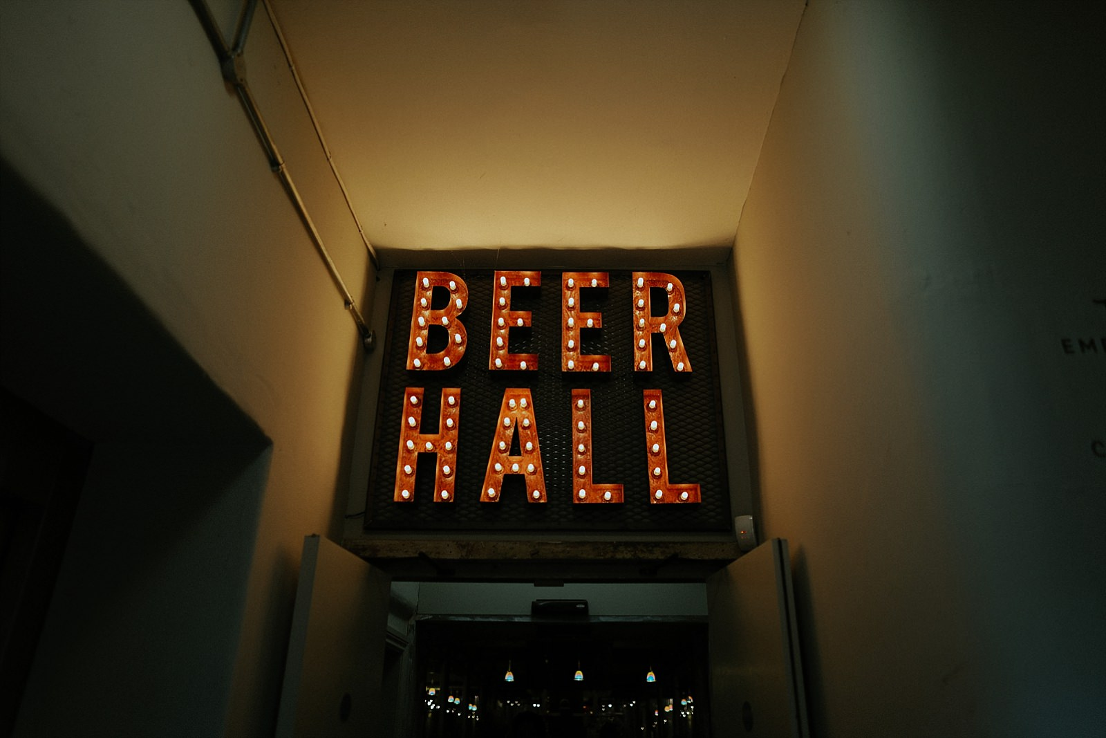 beer hall sign at holmes mill
