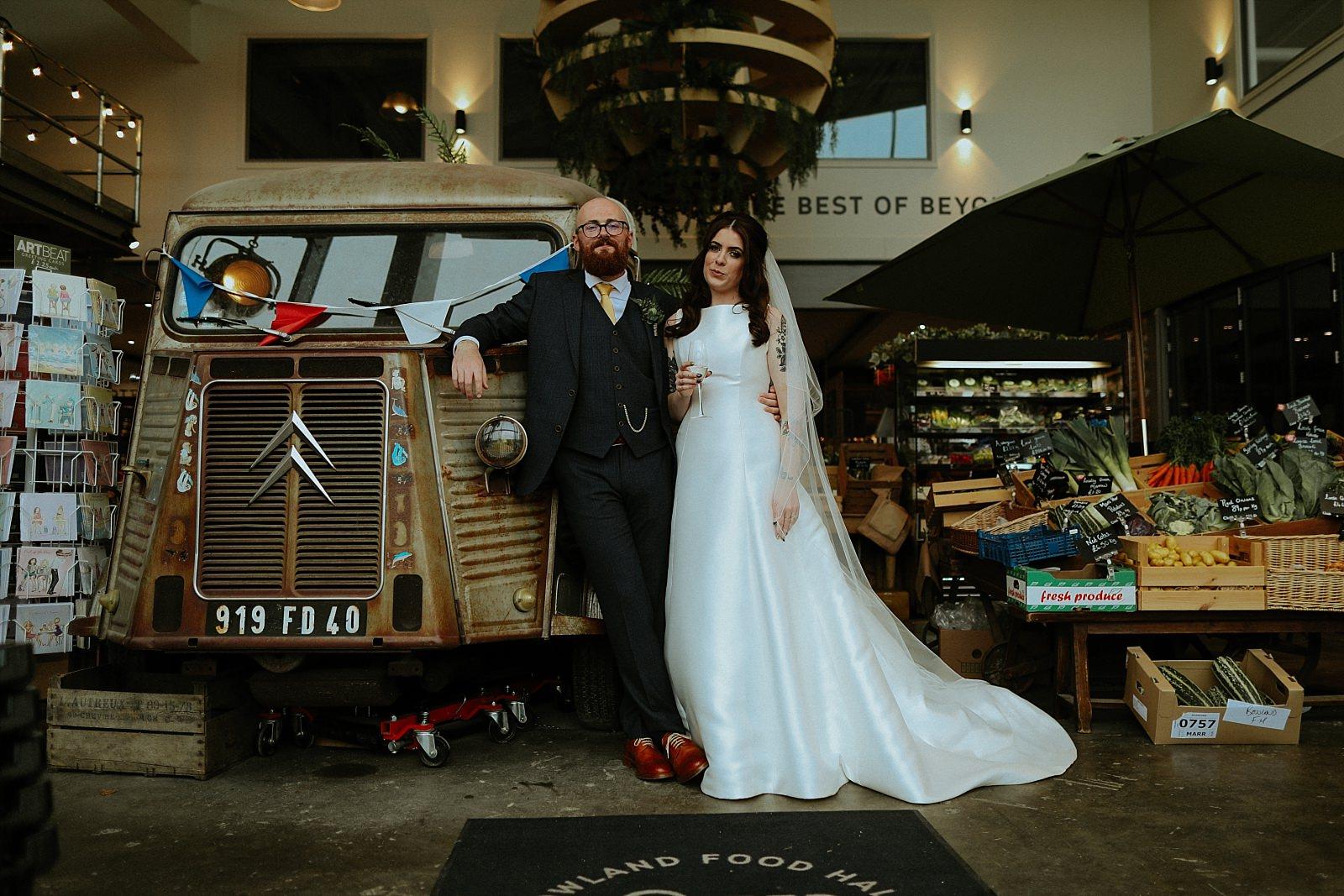 alternative wedding in bowling food hall