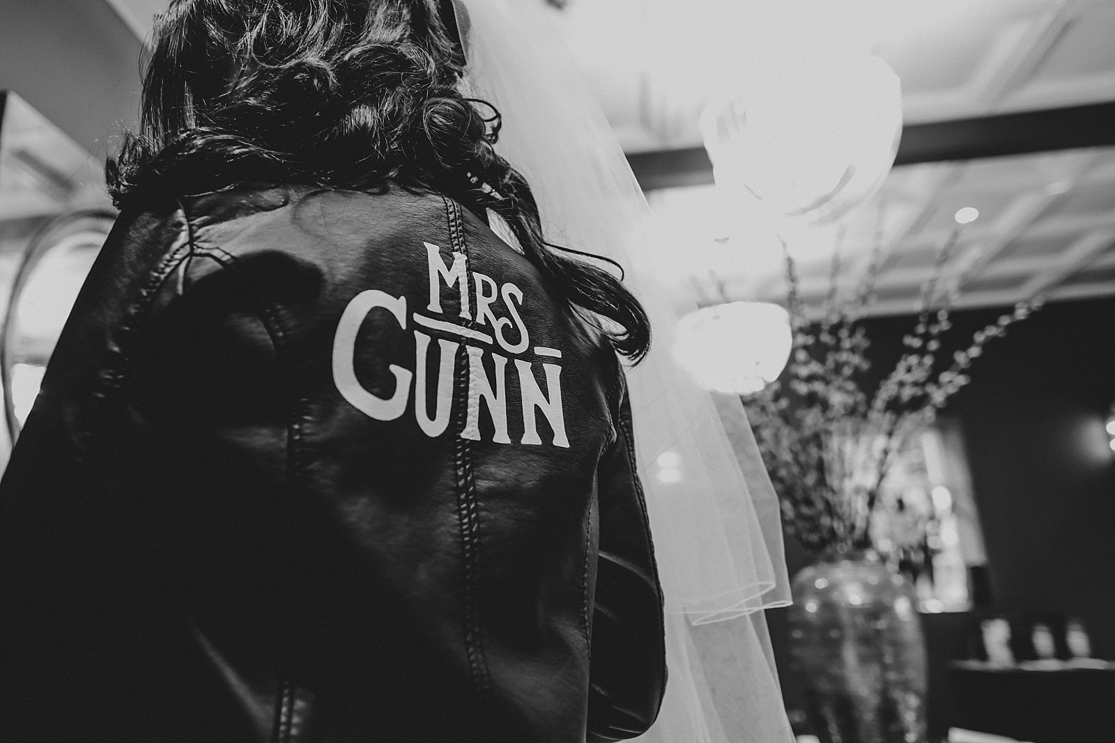Rock n roll brides leather jacket made by the groom