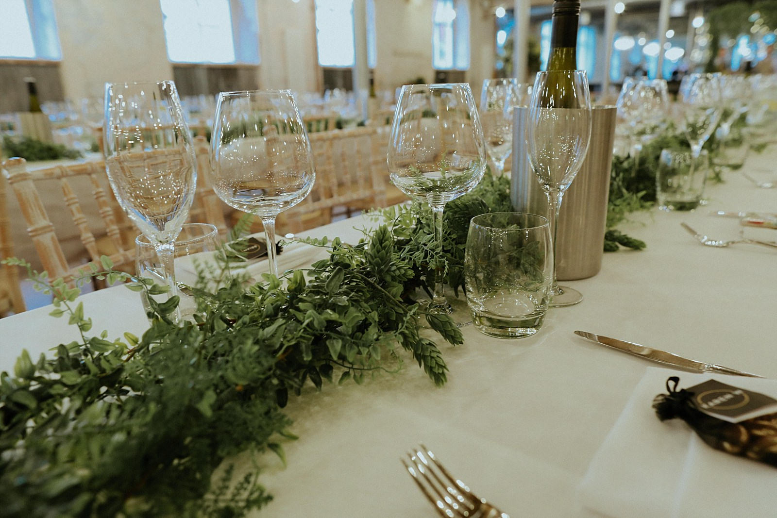 green hops on table at beer wedding venue