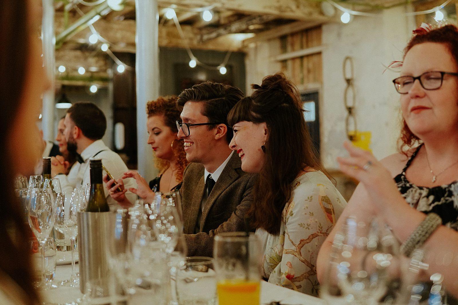 happy guests at wedding meals