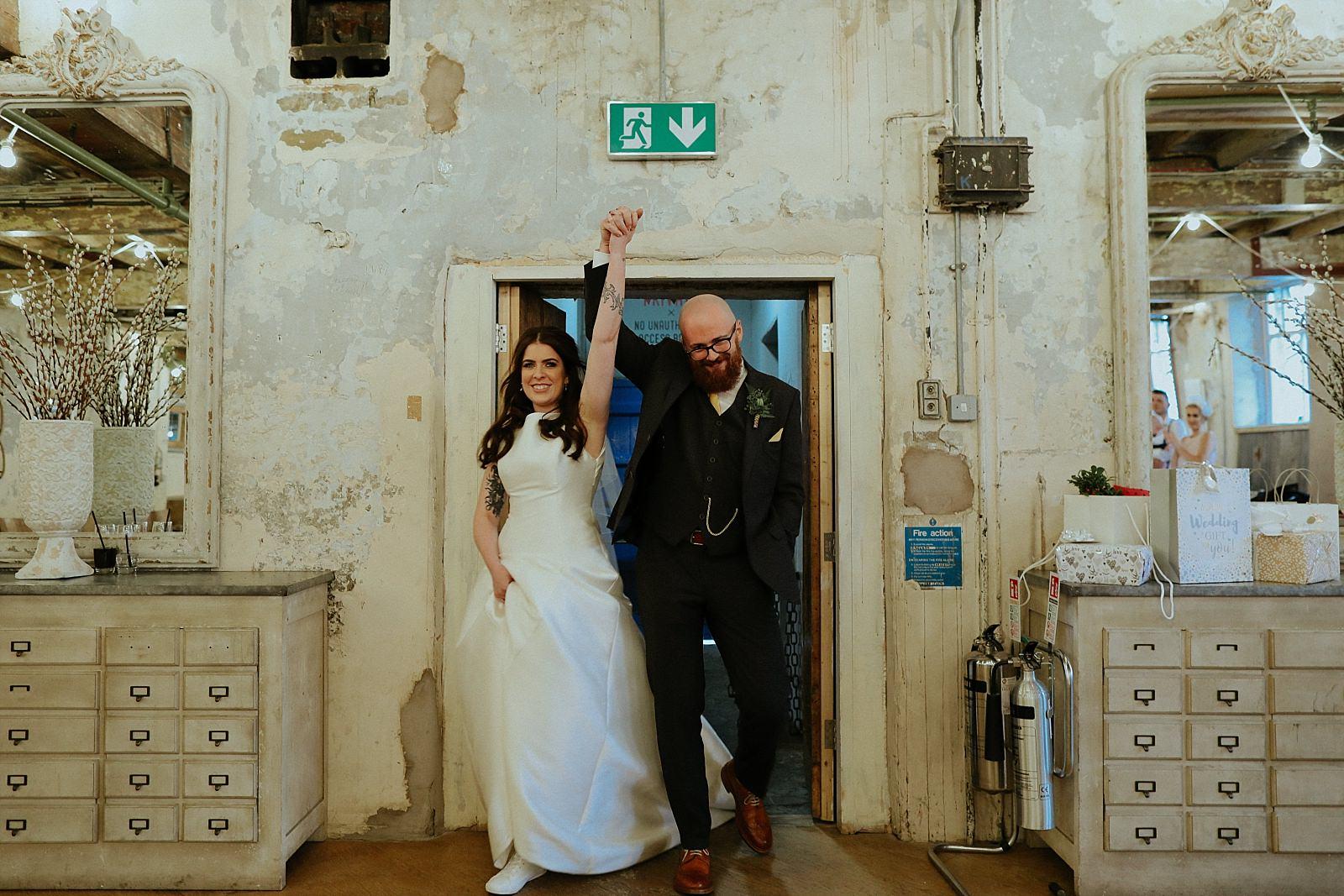 bride and groom entrance to the wedding venue