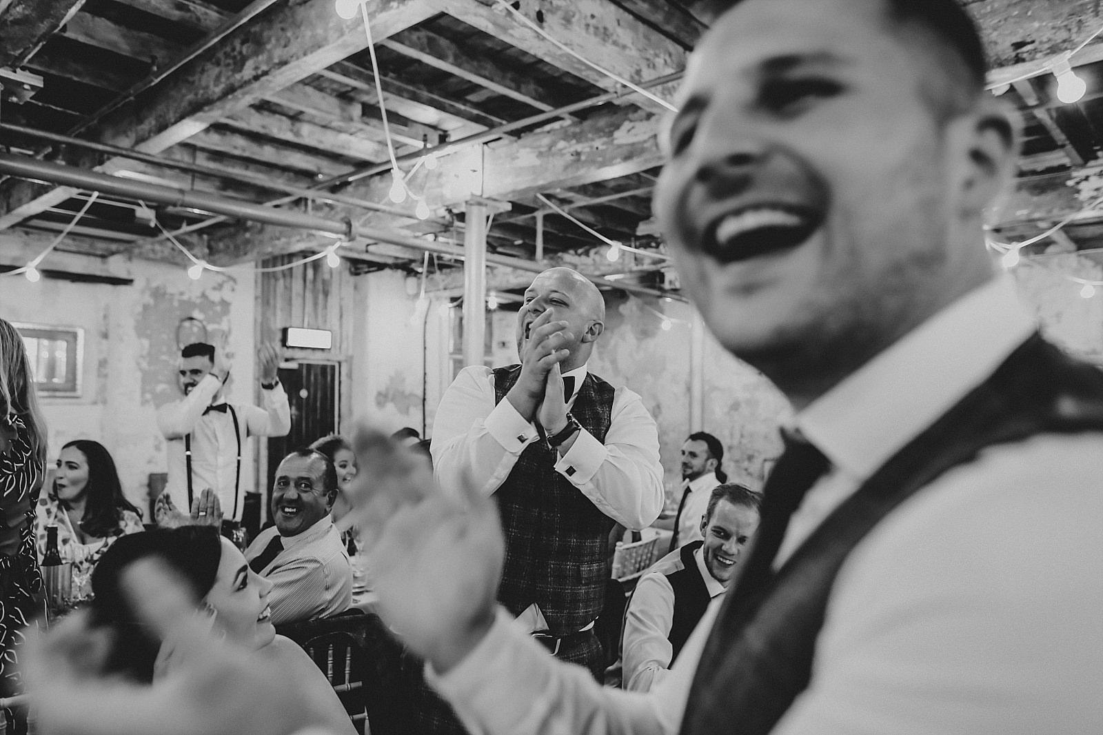 insane happy wedding guests