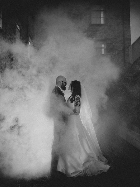 Smoke bomb at Holmes Mill Wedding Photography