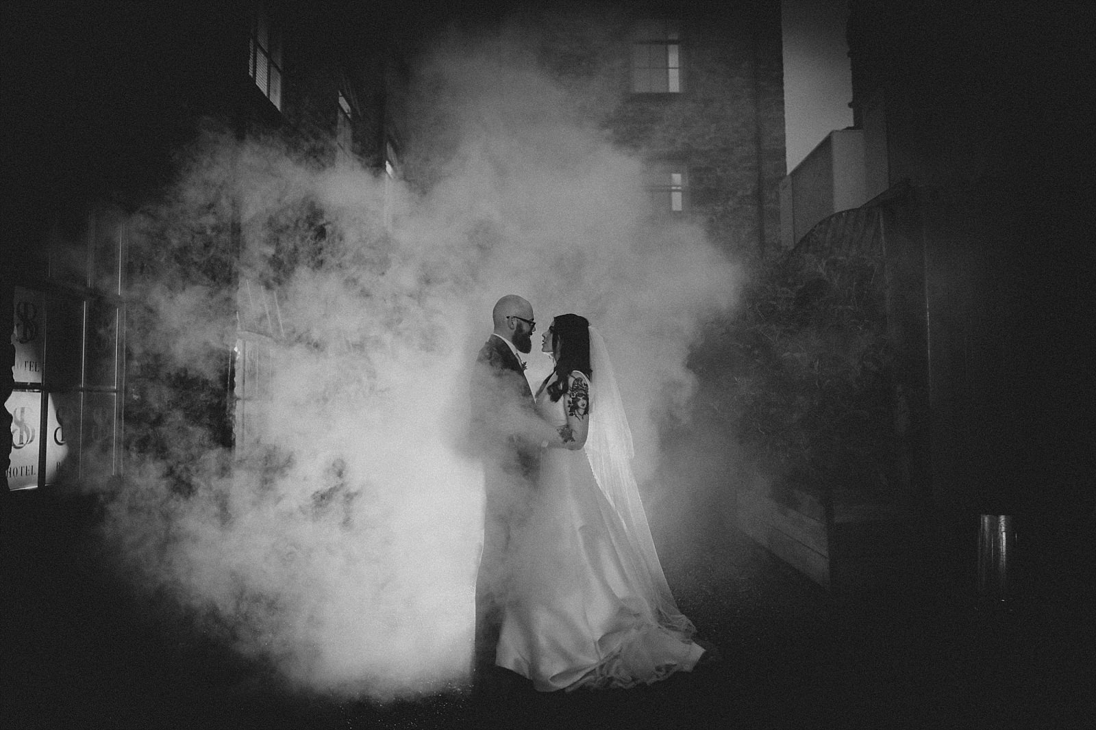 Smoke bomb at Holmes Mill Wedding Photography