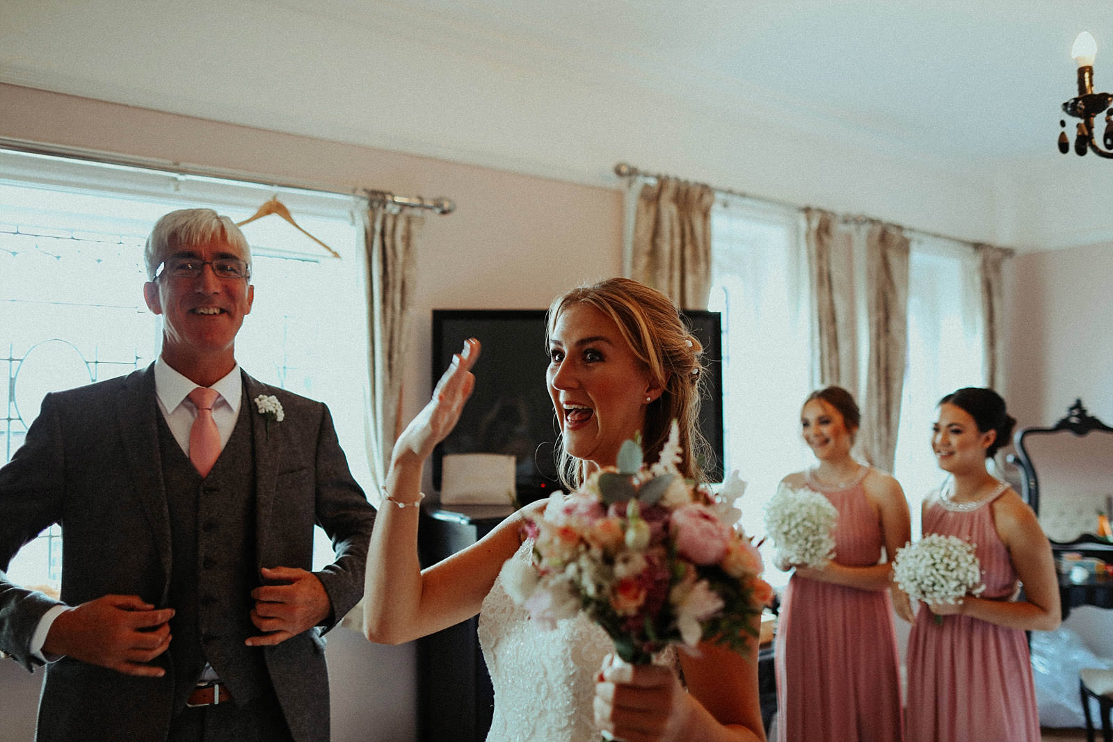 bride nearly crying after seeing her dad